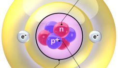 Image: Components of an Helium atom: nucleus, protons, neutrons and electrons