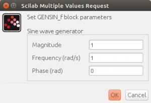 Xcos GENSIN_f Block Parameters