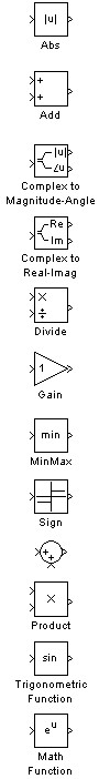 Simulink Math Operations table