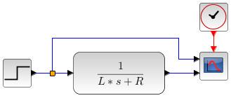RL series circuit transfer function - Xcos block diagram