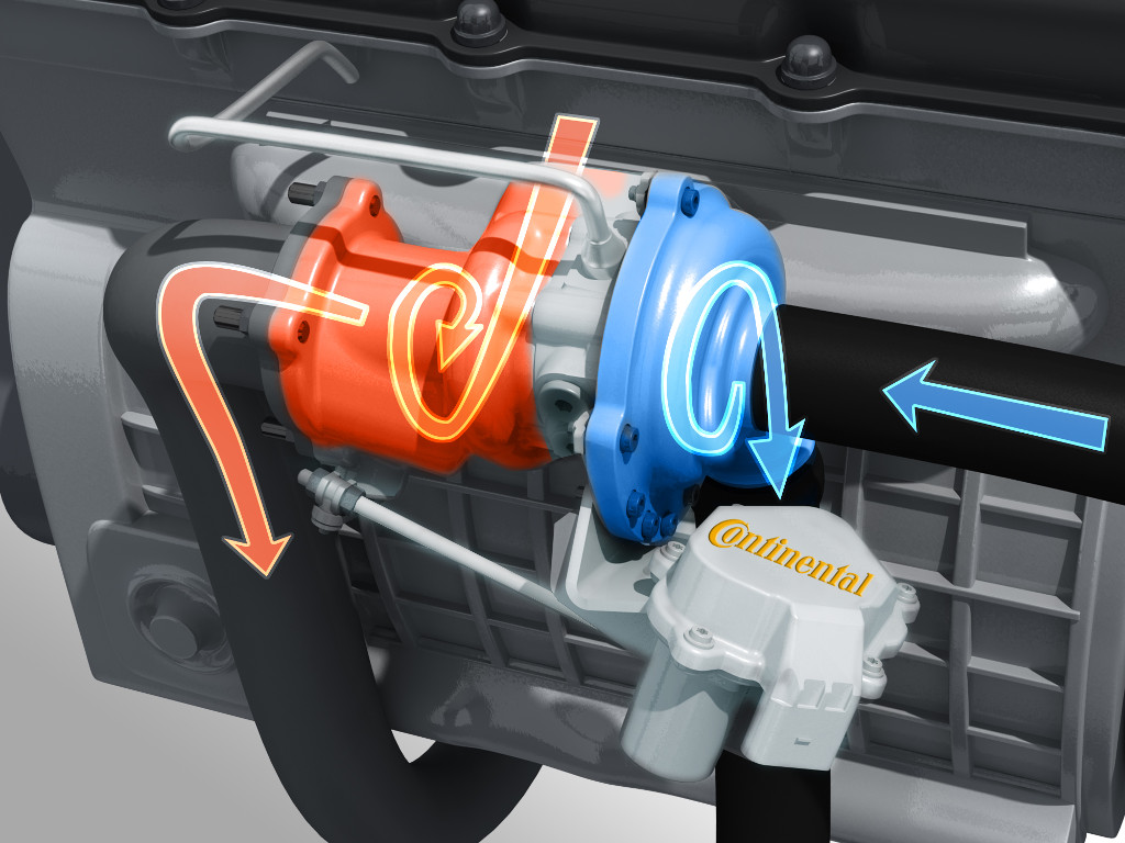 Continental turbocharger (intake and exhaust gas flows)