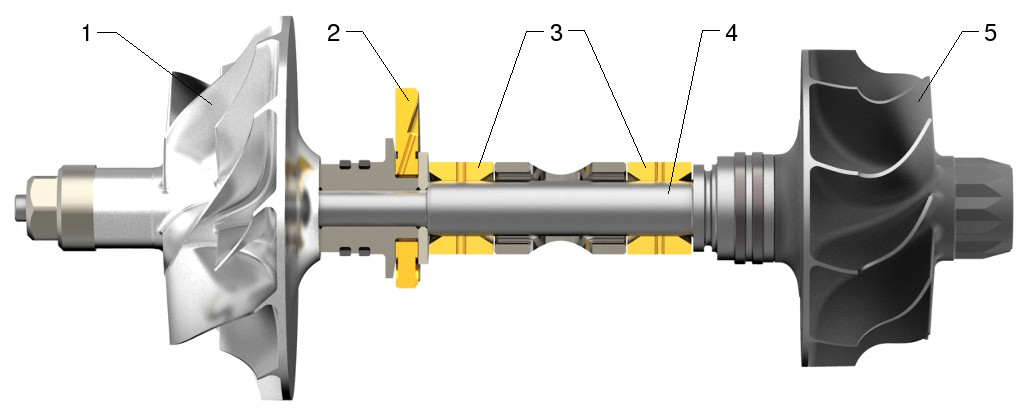 Turbocharger shaft, compressor, turbine wheels and bearings (BMTS)