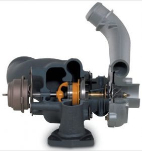 GT17 variable geometry turbocharger - with slidevane and pneumatic actuation (2)