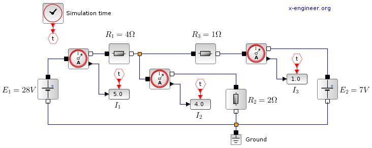 Electrical circuit - Xcos bloc diagram