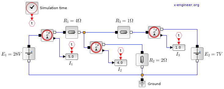 Electrical circuit - Xcos bloc diagram