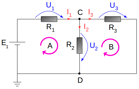 Electrical circuit - with voltage source E1