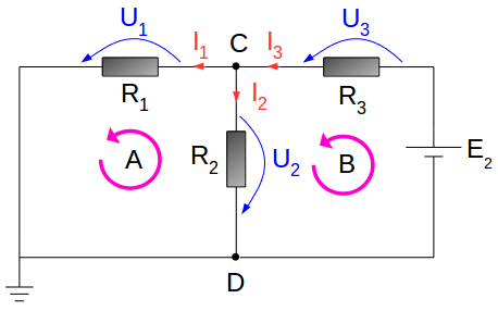 Electrical circuit - with voltage source E2
