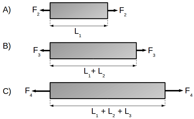 Linear forces applied to a metal bar (sections)