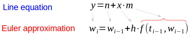Euler approximation and line equation