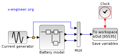 Xcos block diagram - battery simulation