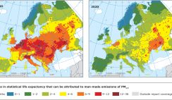Loss in statistical life expectancy that can be attributed to man-made emissions of PM2.5