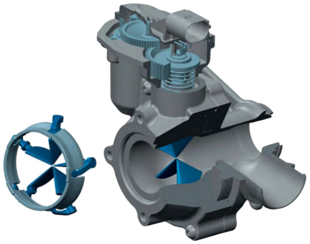 Turbocharger with Inlet Swirl Throttle (IST) - detail