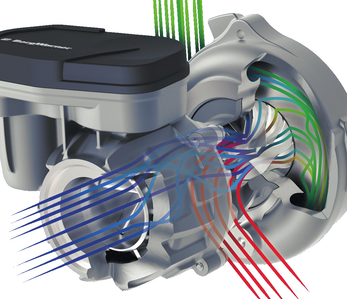 Turbocharger with Inlet Swirl Throttle (IST) - flow lines