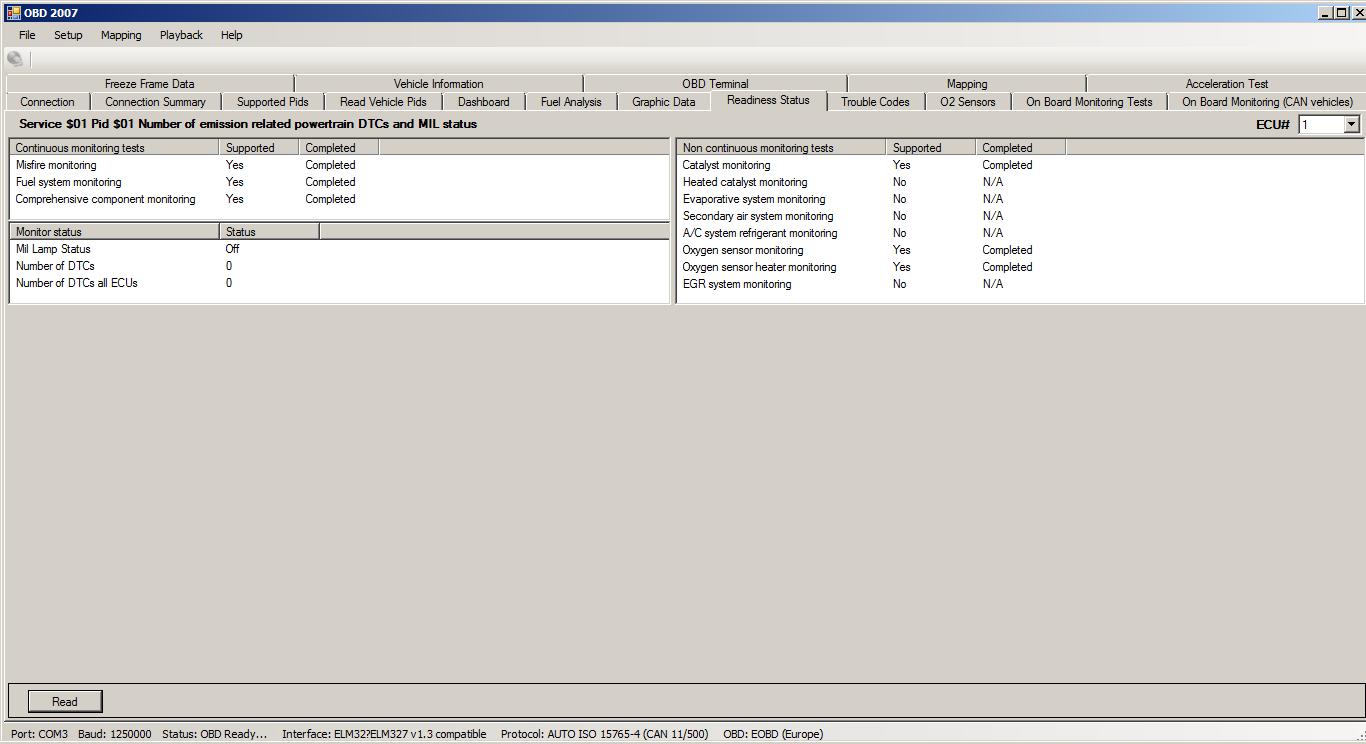 Request Current Powertrain Diagnostic Data - PID 01