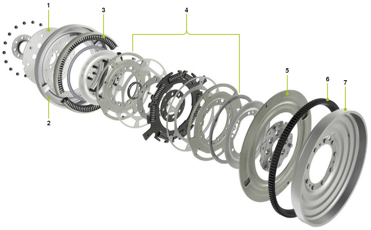 Flexible long travel damper dual mass flywheel