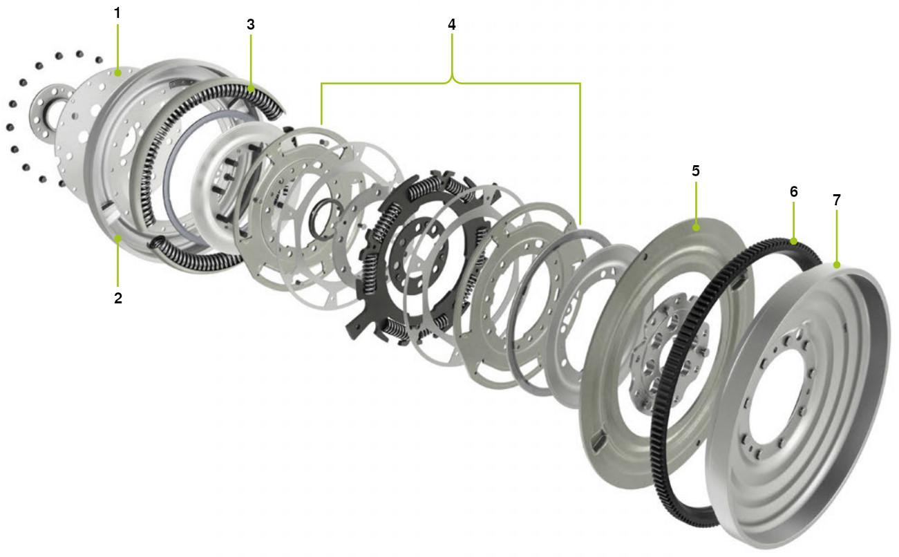 Flexible long travel damper dual mass flywheel
