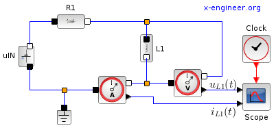 RL circuit - electrical components - Xcos