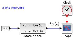 RL circuit - state-space - Xcos
