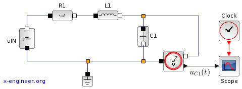 RLC circuit - electrical components - Xcos