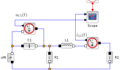 RRLC circuit - electrical components - Xcos