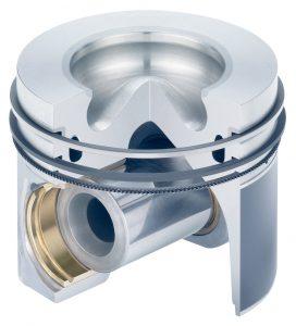 Car diesel engine piston with rings (aluminium, diesel)