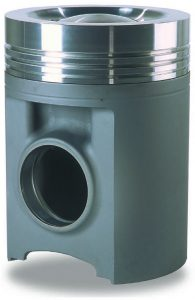 Composite design piston for diesel marine engines