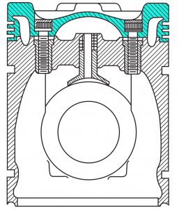 Pistons for heavy-duty engine - cross-section