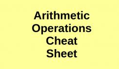 Arithmetic Operations Cheat Sheet