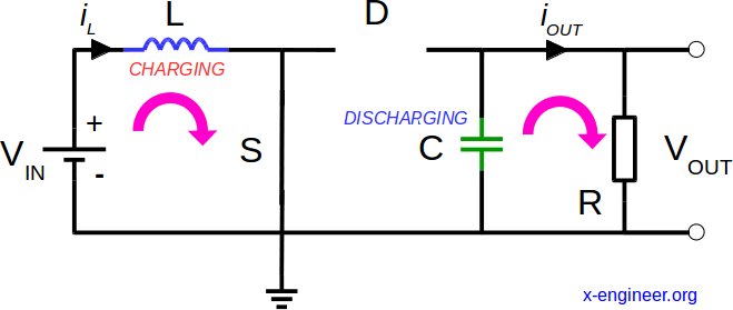 Boost DC-DC converter circuit - switch closed
