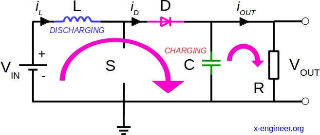 Boost DC-DC converter circuit - switch open